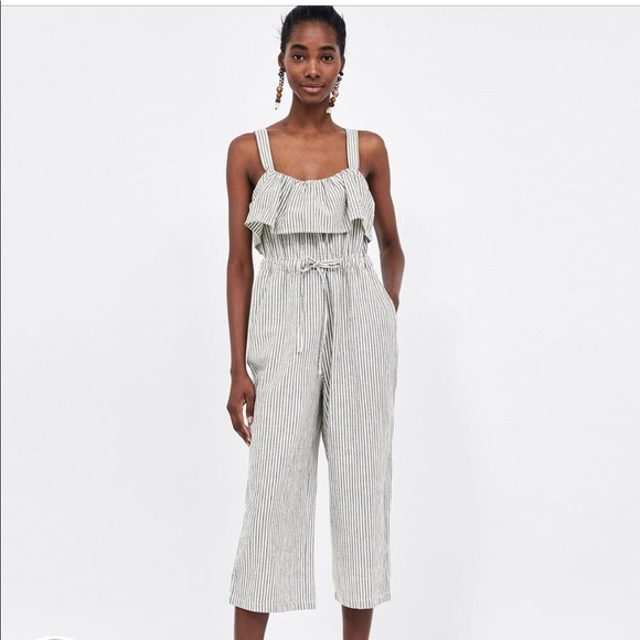 45b49669 Zara Dresses | Bnwt Striped Jumpsuit W Culottes From | Poshmark